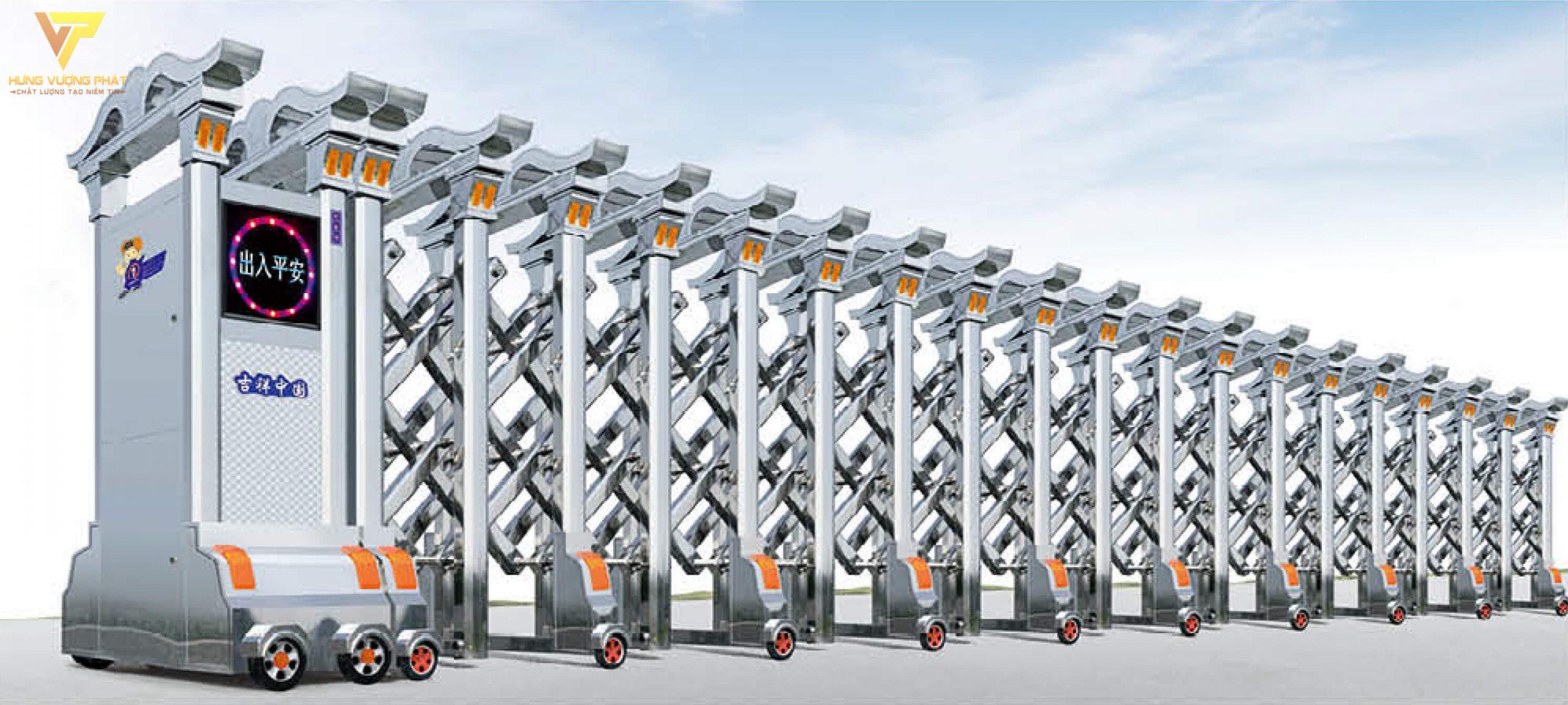 Cổng xếp inox chạy điện tự động HI25