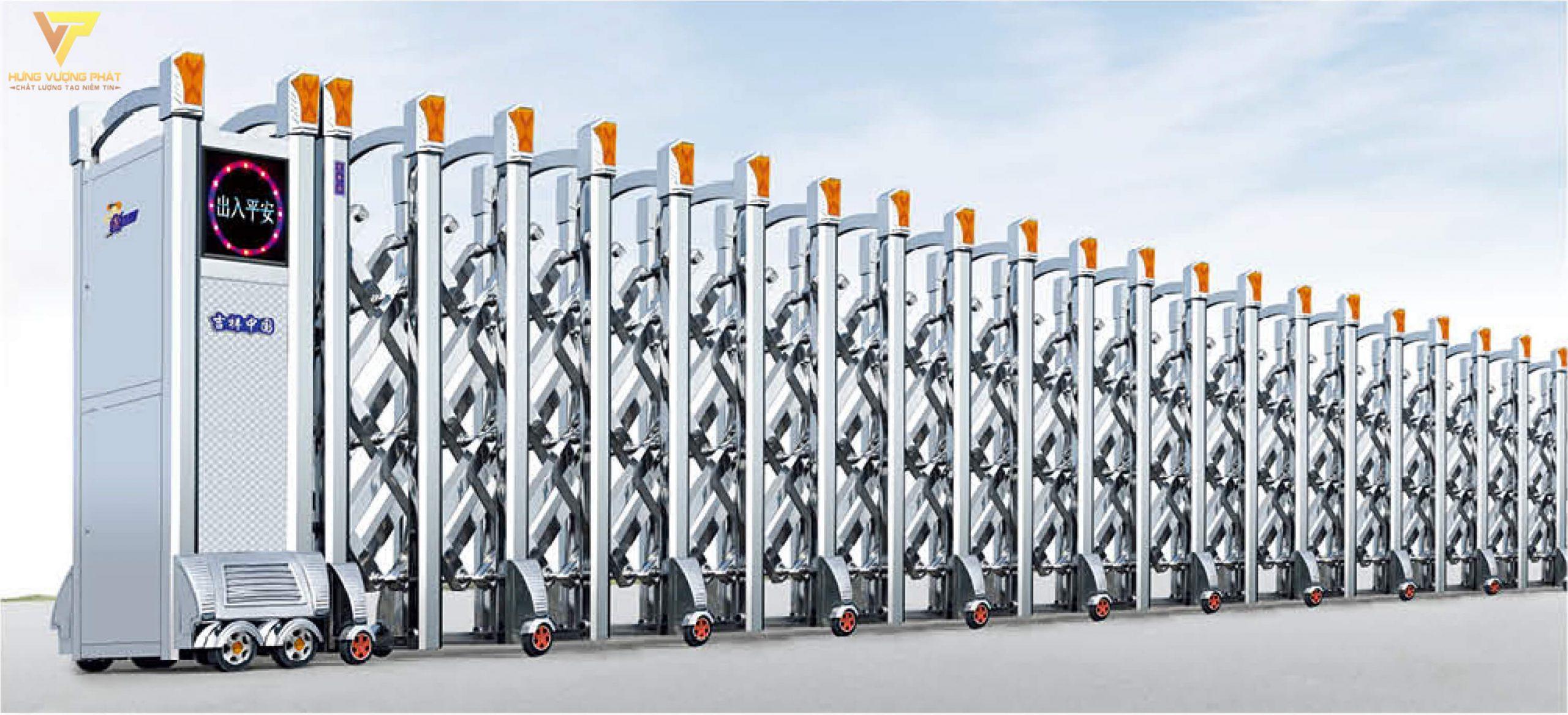 Cổng xếp inox chạy điện tự động HI26