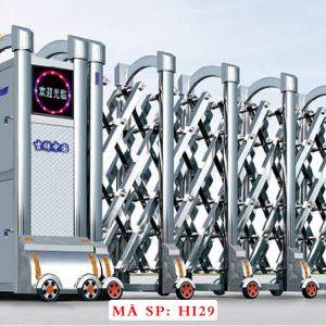 Cổng xếp inox chạy điện tự động HI29