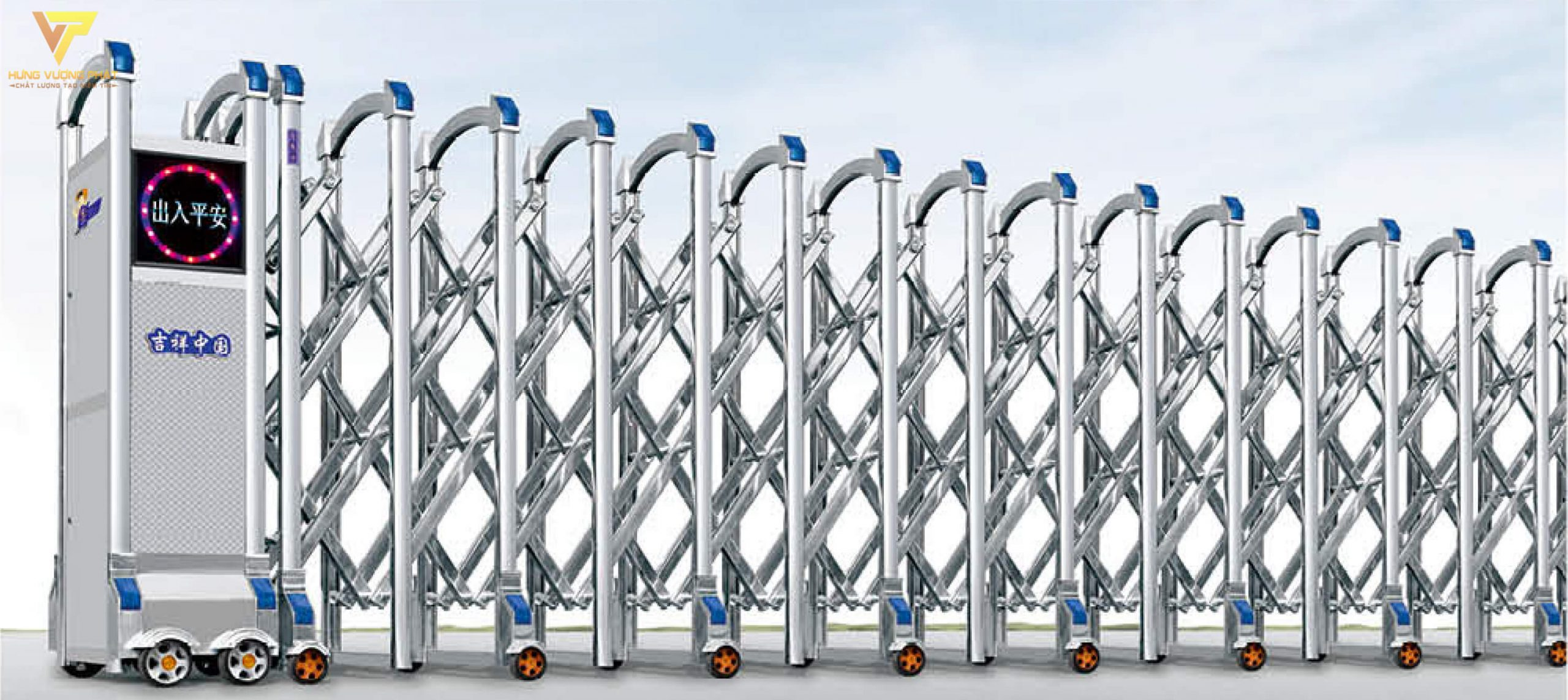 Cổng xếp inox chạy điện tự động HI41
