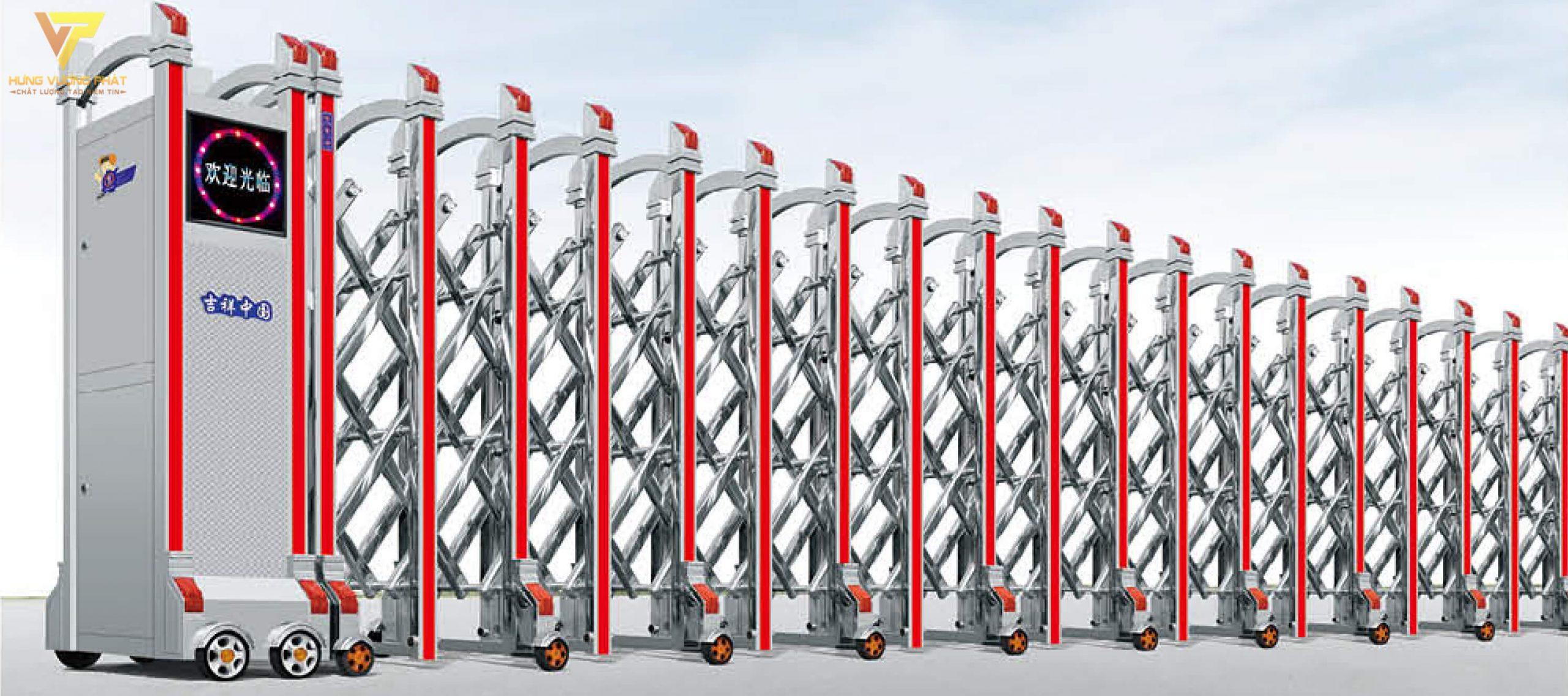Cổng xếp inox chạy điện tự động HI42