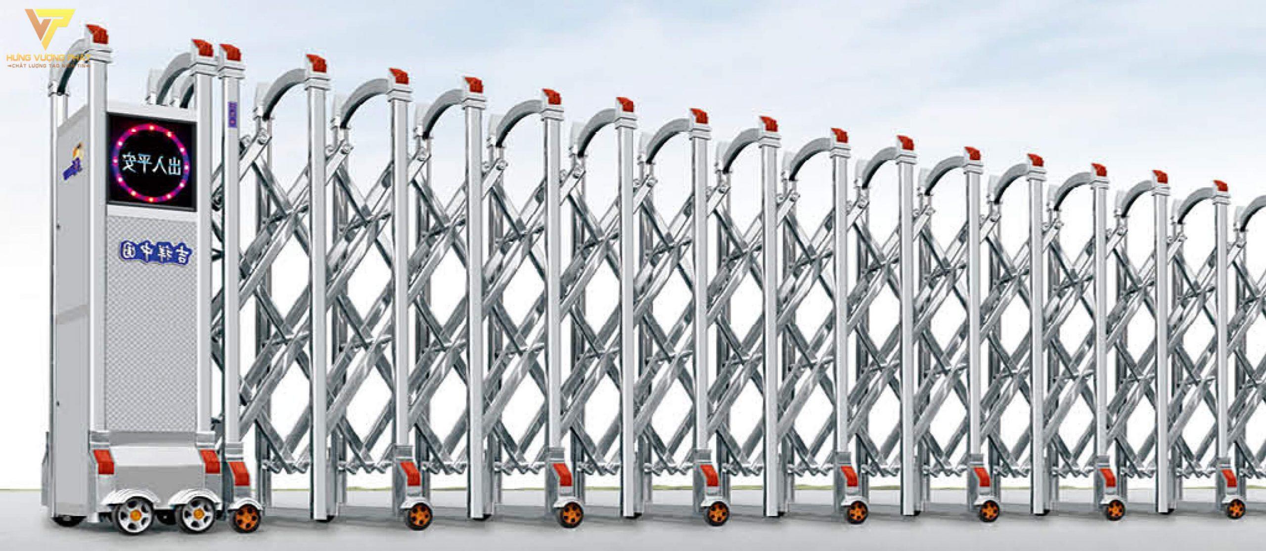 Cổng xếp inox chạy điện tự động HI44