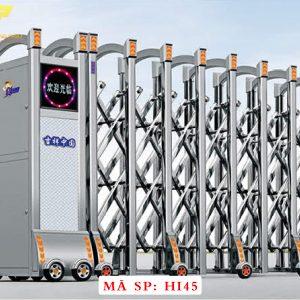 Cổng xếp inox chạy điện tự động HI45