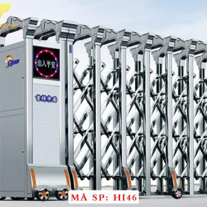 Cổng xếp inox chạy điện tự động HI46