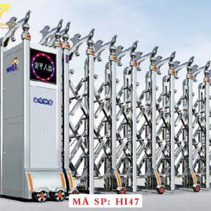 Cổng xếp inox chạy điện tự động HI47
