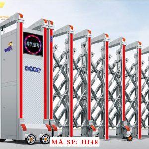 Cổng xếp inox chạy điện tự động HI48