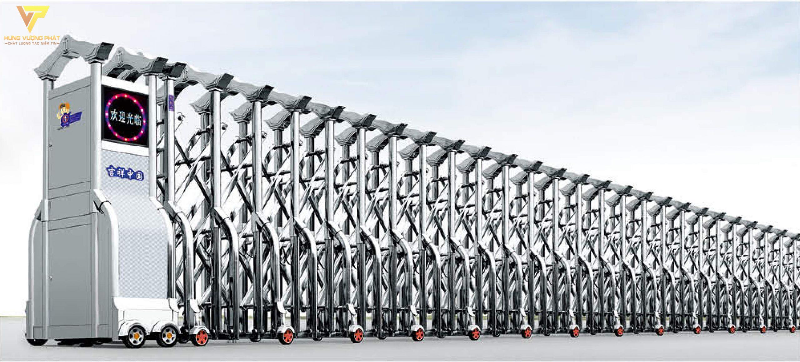 Cổng xếp inox chạy điện tự động HI49