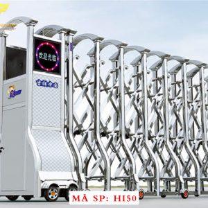 Cổng xếp inox chạy điện tự động HI50