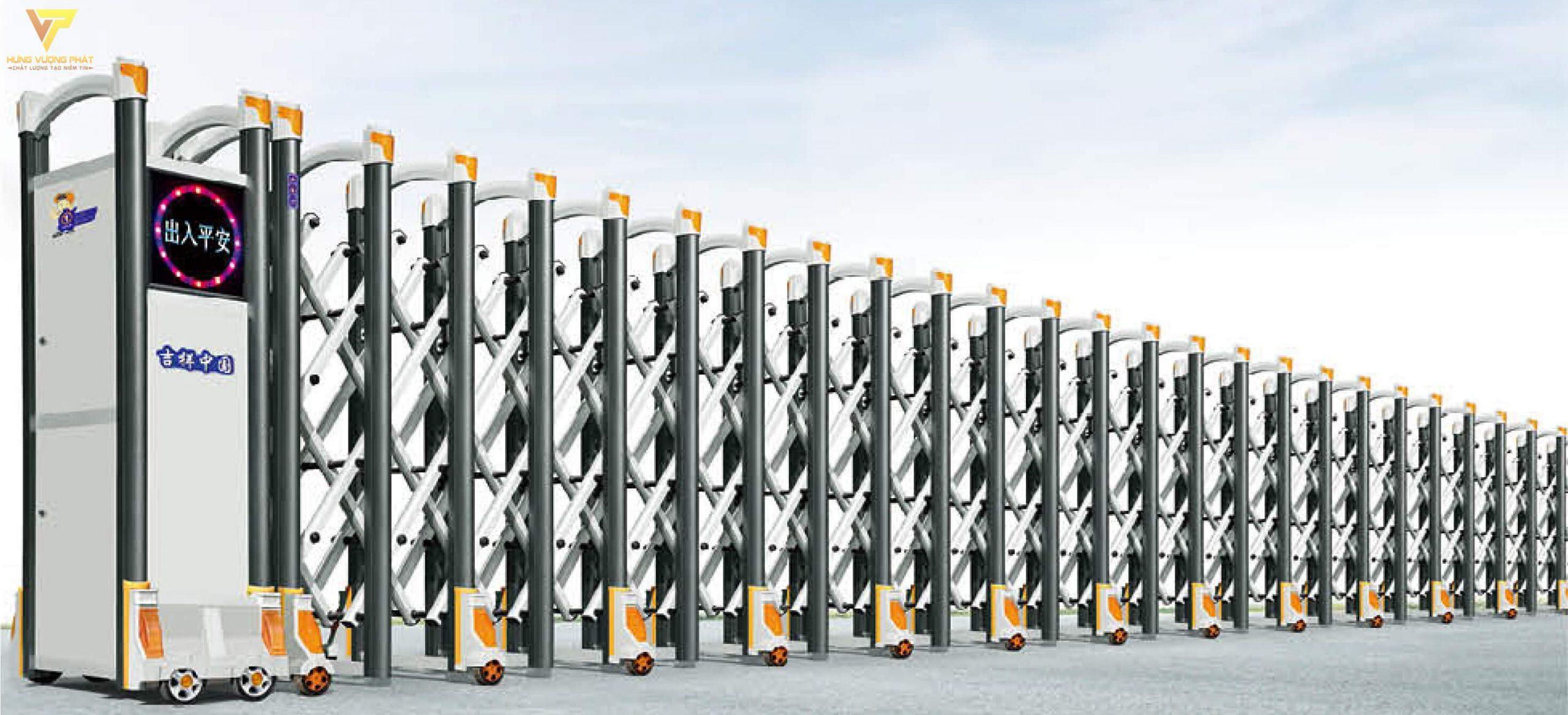 Cổng xếp hợp kim nhôm chạy điện tự động HN40