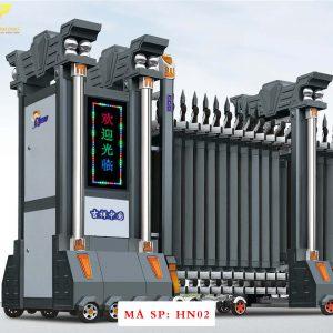 Cổng xếp hợp kim nhôm chạy điện tự động HN02
