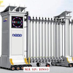 Cổng xếp hợp kim nhôm chạy điện tự động HN03