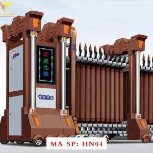 Cổng xếp hợp kim nhôm chạy điện tự động HN04