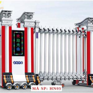 Cổng xếp hợp kim nhôm chạy điện tự động HN05