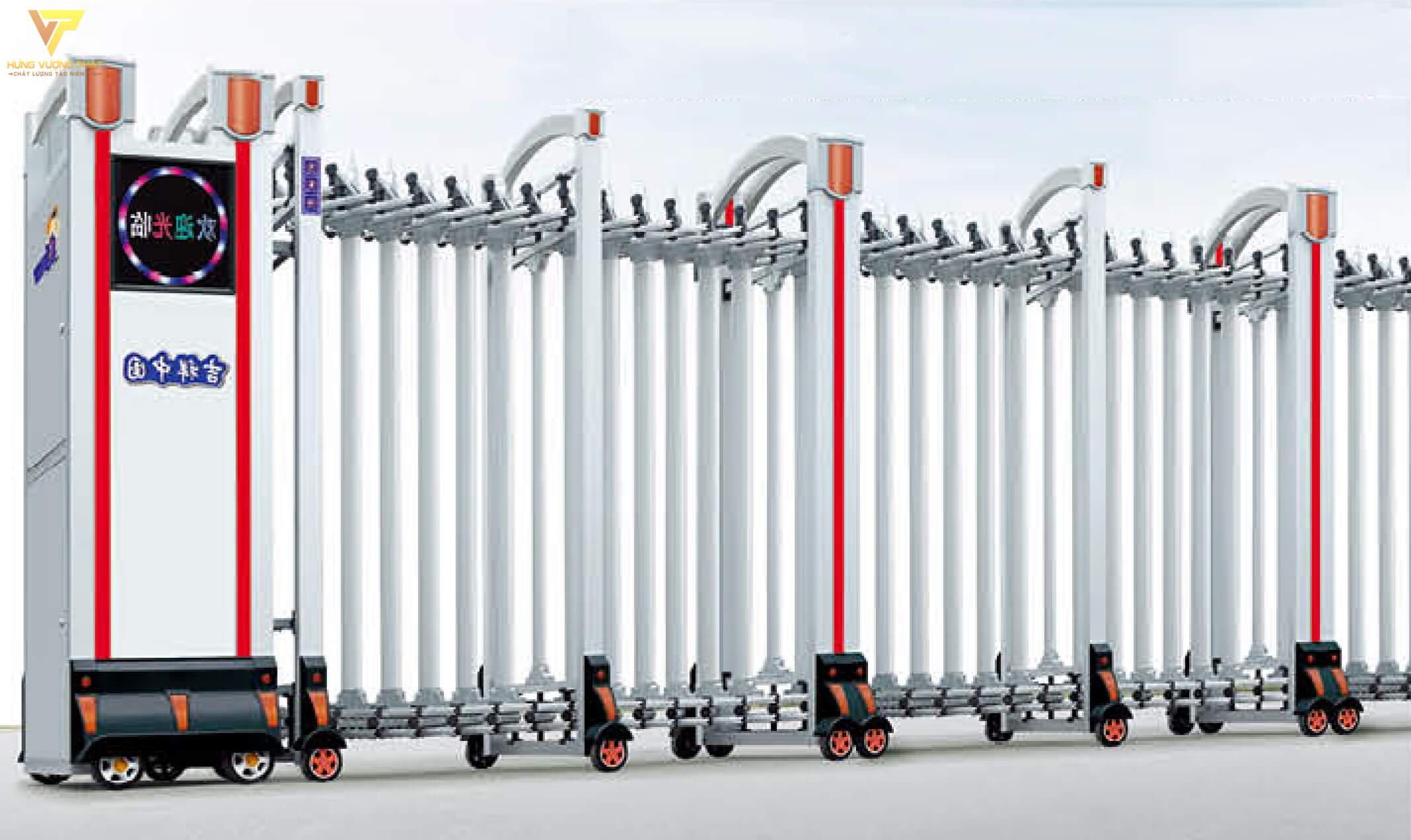 Cổng xếp hợp kim nhôm chạy điện tự động HN06