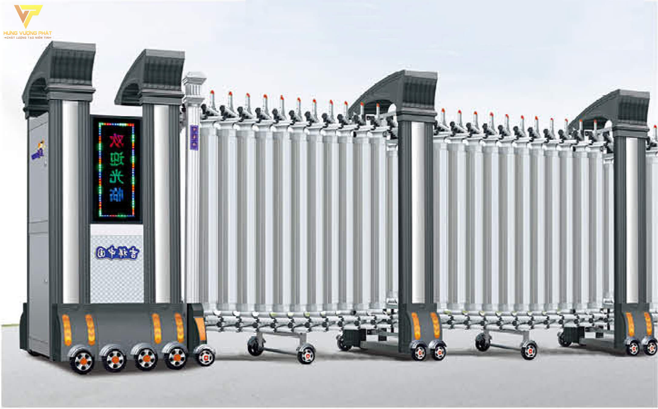 Cổng xếp hợp kim nhôm chạy điện tự động HN07