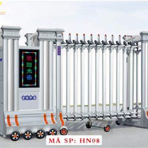 Cổng xếp hợp kim nhôm chạy điện tự động HN08