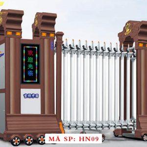 Cổng xếp hợp kim nhôm chạy điện tự động HN09