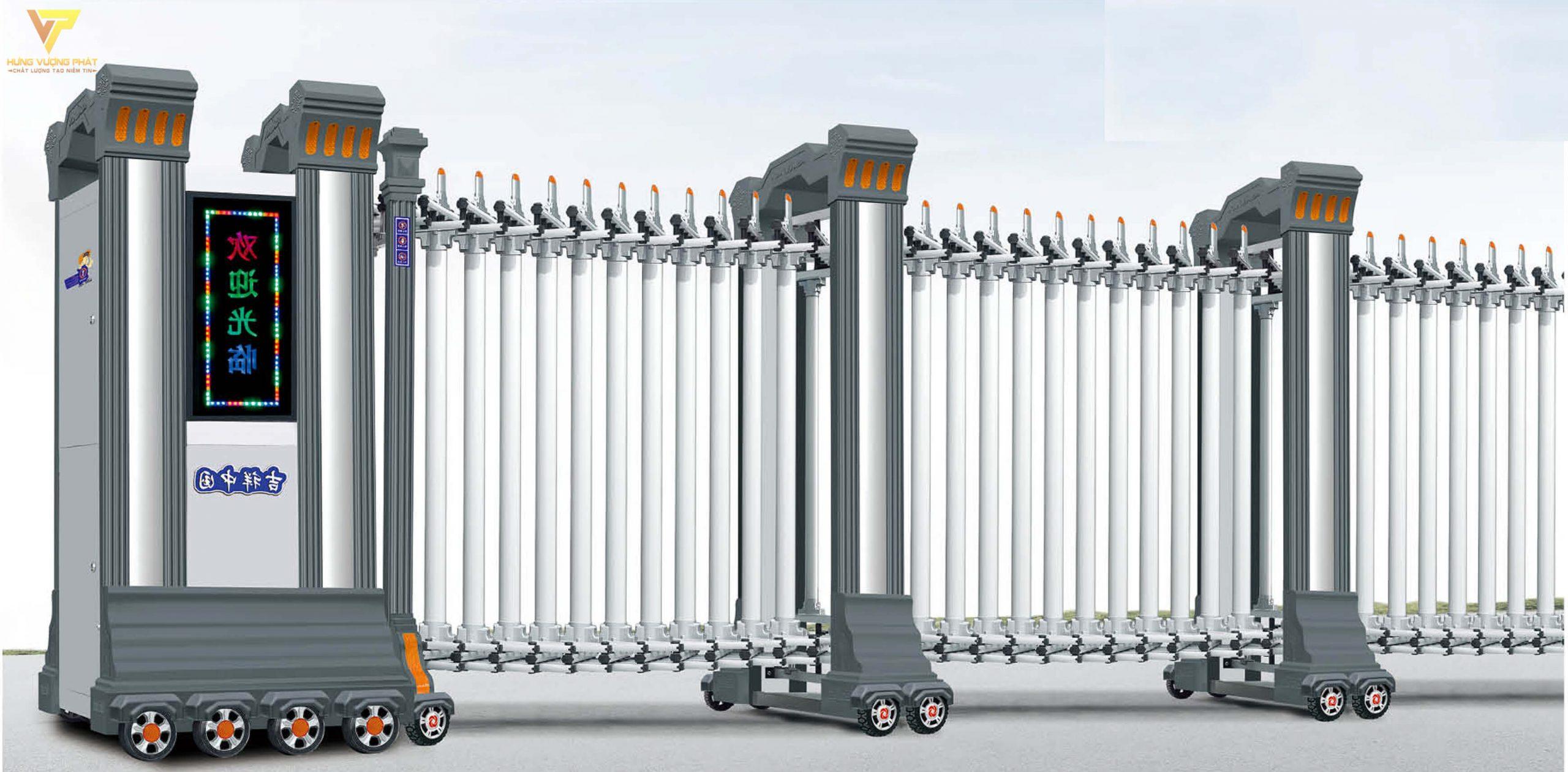 Cổng xếp hợp kim nhôm chạy điện tự động HN10