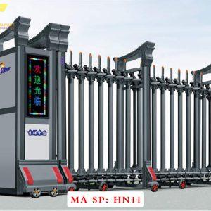 Cổng xếp hợp kim nhôm chạy điện tự động HN11