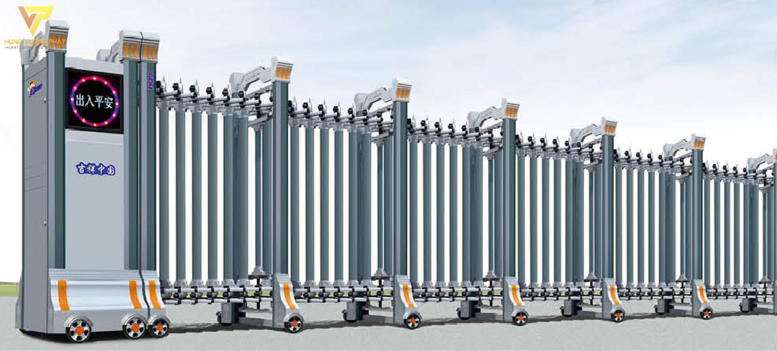 Cổng xếp hợp kim nhôm chạy điện tự động HN12