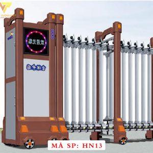 Cổng xếp hợp kim nhôm chạy điện tự động HN13