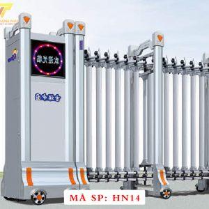 Cổng xếp hợp kim nhôm chạy điện tự động HN14