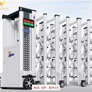 Cổng xếp hợp kim nhôm chạy điện tự động HN15