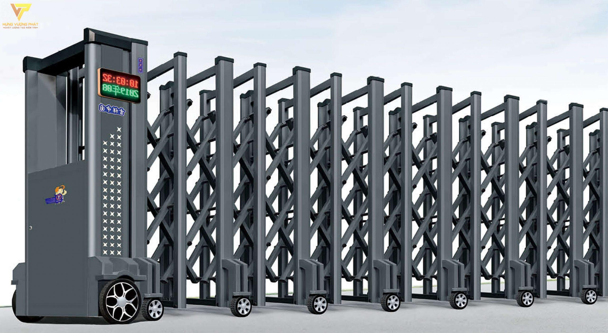 Cổng xếp hợp kim nhôm chạy điện tự động HN16