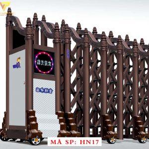 Cổng xếp hợp kim nhôm chạy điện tự động HN17