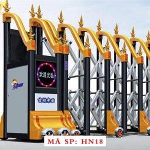 Cổng xếp hợp kim nhôm chạy điện tự động HN18
