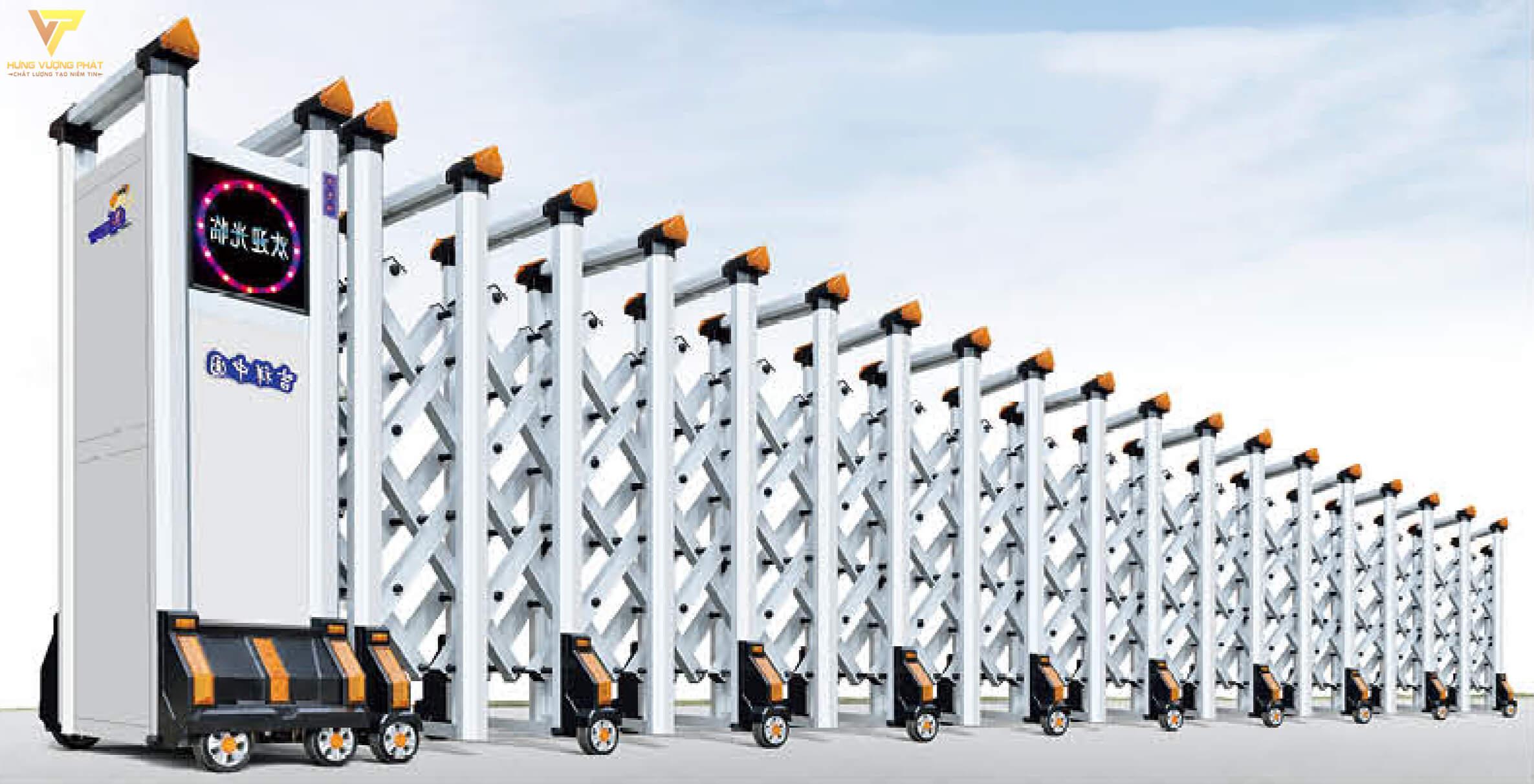 Cổng xếp hợp kim nhôm chạy điện tự động HN21