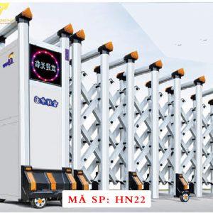 Cổng xếp hợp kim nhôm chạy điện tự động HN22