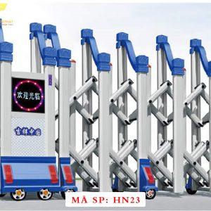 Cổng xếp hợp kim nhôm chạy điện tự động HN23