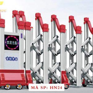 Cổng xếp hợp kim nhôm chạy điện tự động HN24