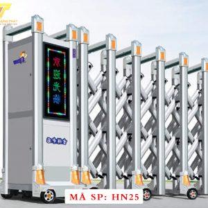 Cổng xếp hợp kim nhôm chạy điện tự động HN25