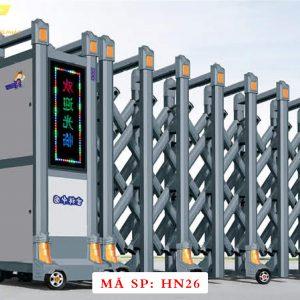 Cổng xếp hợp kim nhôm chạy điện tự động HN26