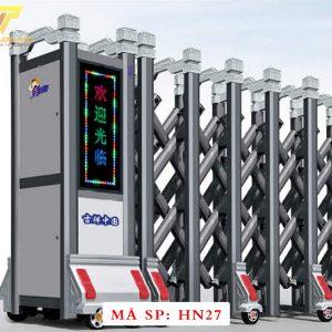 Cổng xếp hợp kim nhôm chạy điện tự động HN27