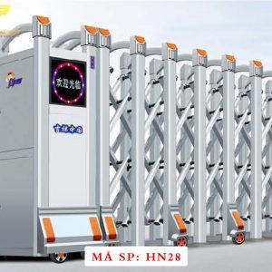 Cổng xếp hợp kim nhôm chạy điện tự động HN28