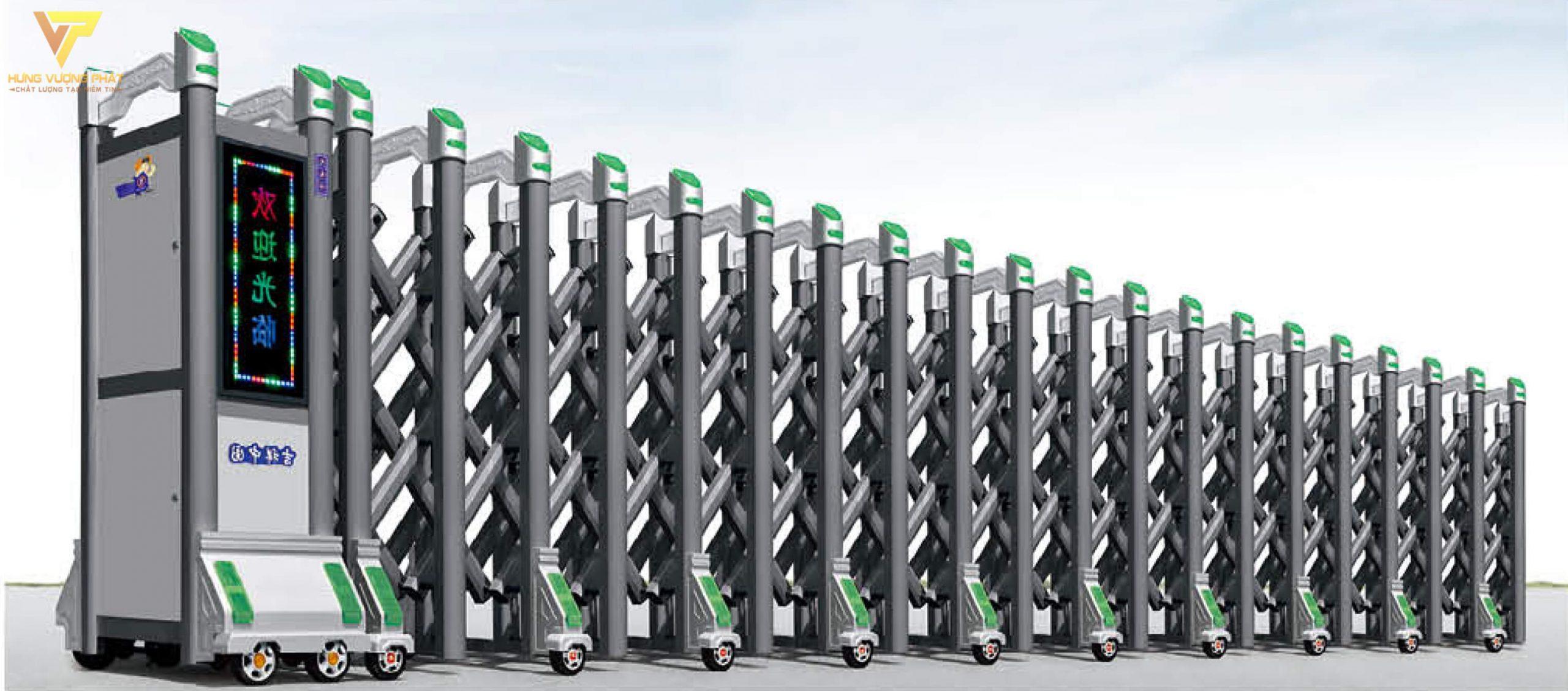 Cổng xếp hợp kim nhôm chạy điện tự động HN29