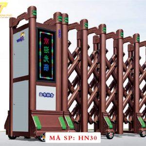 Cổng xếp hợp kim nhôm chạy điện tự động HN30