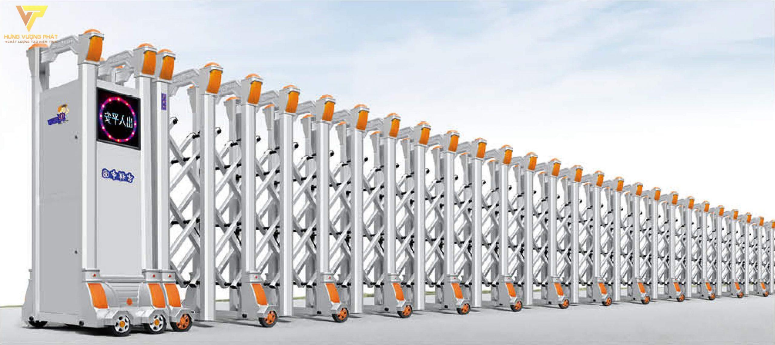 Cổng xếp hợp kim nhôm chạy điện tự động HN33
