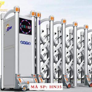 Cổng xếp hợp kim nhôm chạy điện tự động HN35