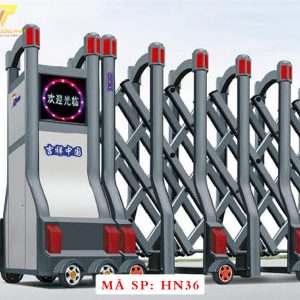 Cổng xếp hợp kim nhôm chạy điện tự động HN36