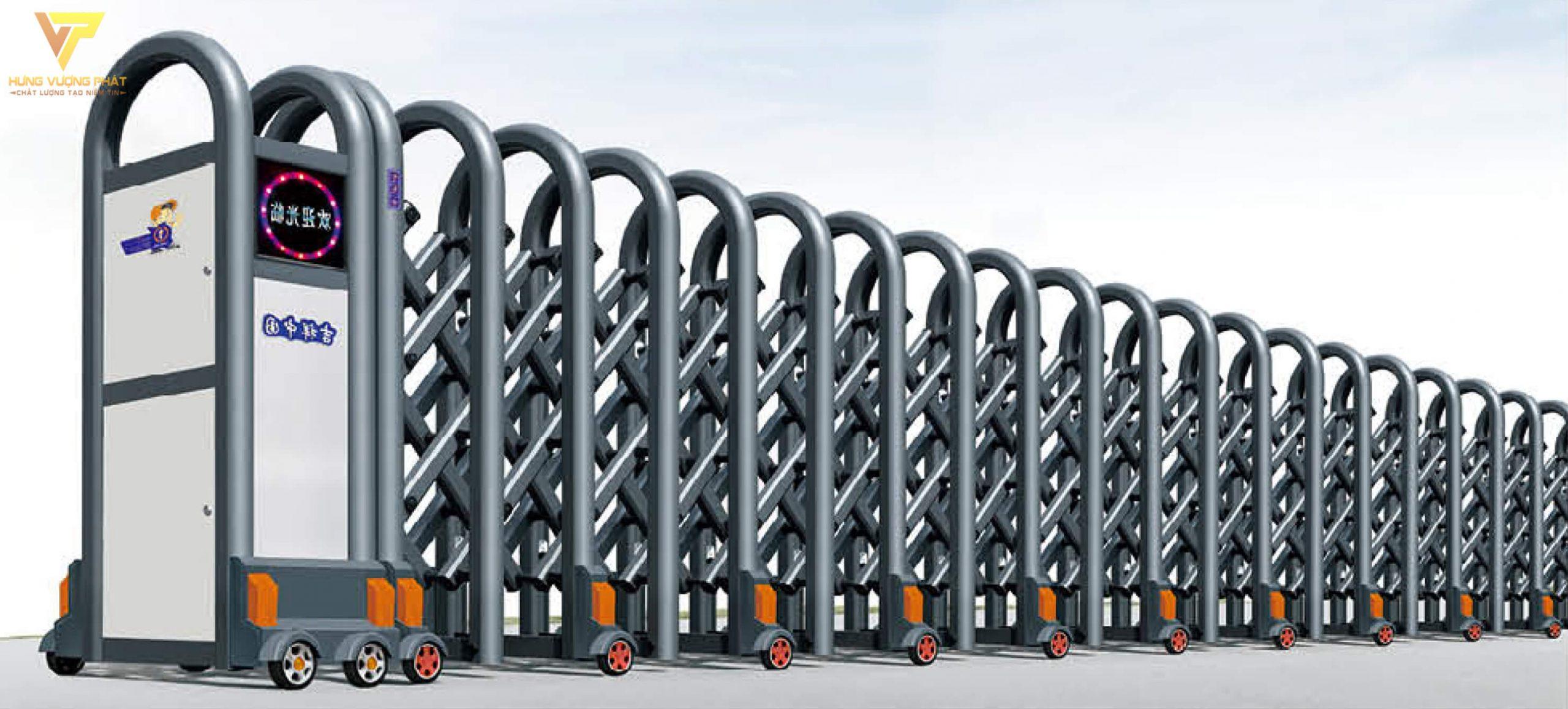 Cổng xếp hợp kim nhôm chạy điện tự động HN37