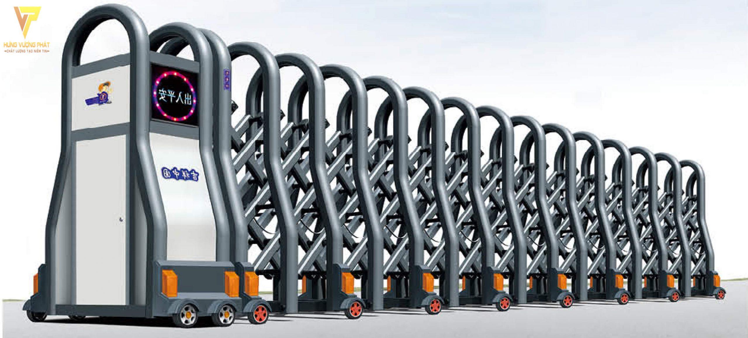 Cổng xếp hợp kim nhôm chạy điện tự động HN38
