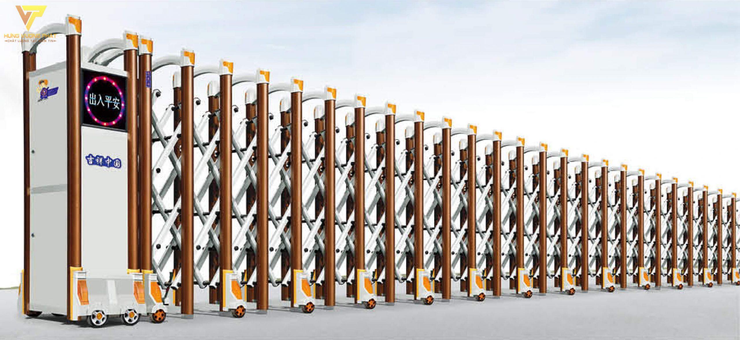 Cổng xếp hợp kim nhôm chạy điện tự động HN39
