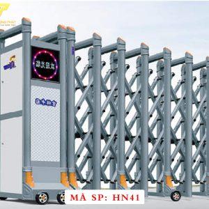 Cổng xếp hợp kim nhôm chạy điện tự động HN41