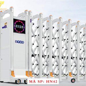 Cổng xếp hợp kim nhôm chạy điện tự động HN42