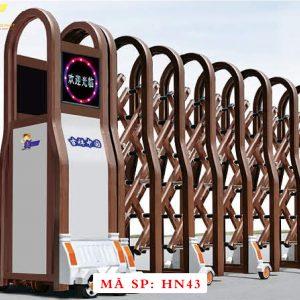 Cổng xếp hợp kim nhôm chạy điện tự động HN43