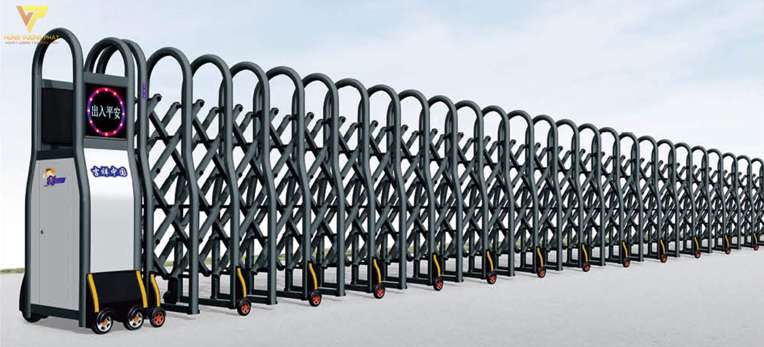 Cổng xếp hợp kim nhôm chạy điện tự động HN44